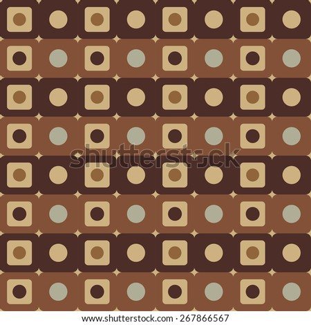 Abstract geometric seamless pattern with circles and squares in coffee color. Repeating background texture  - stock photo