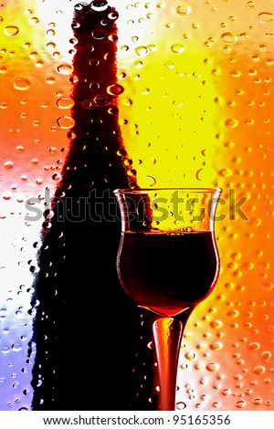 Abstract glassware background design made from a wine glass  and a   bottle. - stock photo