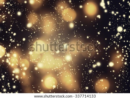 Abstract glittering lights and stars on dark background - Festive glitter vintage lights with bokeh  - stock photo