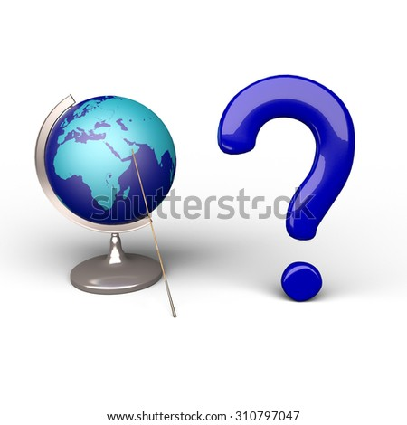Abstract globe sphere for clip-art in blue colors with blue volumetric question mark - stock photo