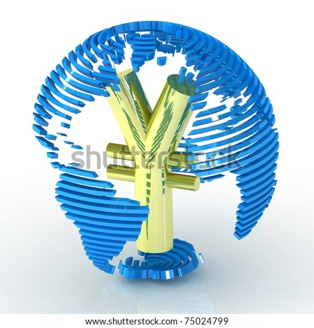 Abstract globe with yen symbol inside. - stock photo