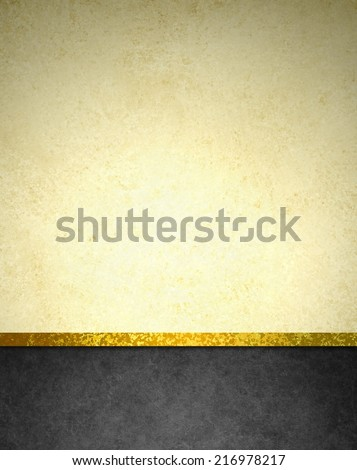 abstract gold background with black footer and gold ribbon trim border, beautiful template background layout, luxury elegant gold paper with vintage grunge background texture design  - stock photo