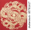 Abstract, Gold Dragon on silk - stock photo