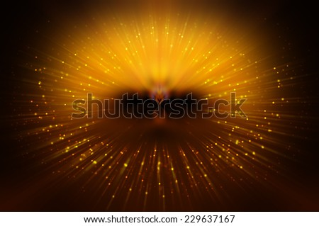 Abstract gold fractal composition. Magic explosion star with particles - stock photo