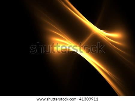 Abstract golden flames on black background- beautiful 3D rendered fractal. - stock photo