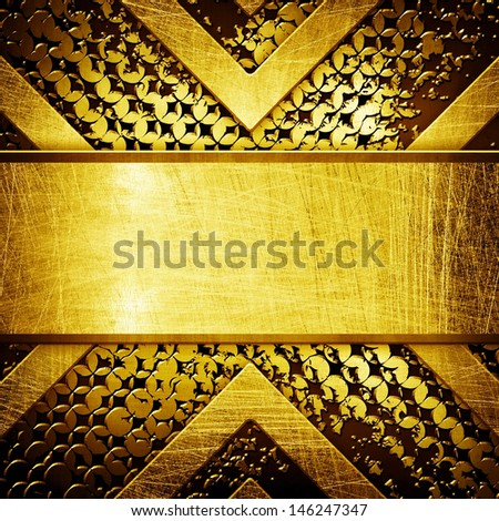 abstract golden metal background - stock photo
