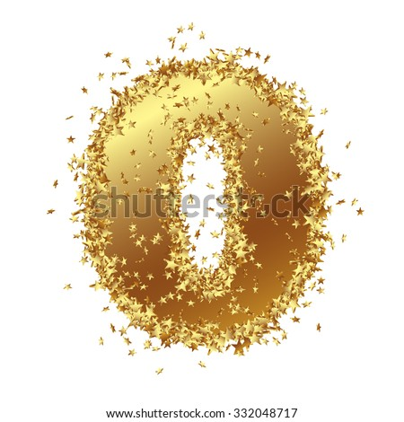 Abstract Golden Number with Starlet Border - Zero - Null - 0 - Birthday, Party, New Years Eve, Jubilee - Number, Figure, Digit - Graphic Illustration Isolated on White Background - stock photo