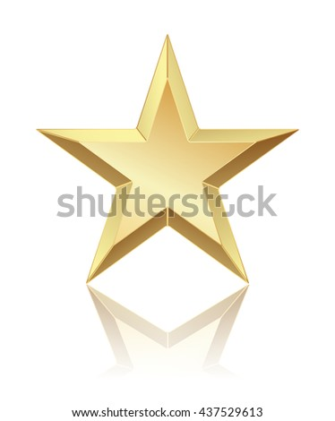 abstract golden star with reflection on white. raster - stock photo