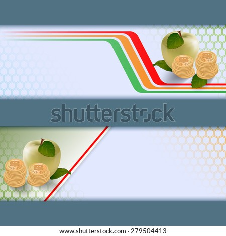 Abstract graphic, design web banner; Header layout template; Set of banners with apples, roll of money on geometric design and space for text.  - stock photo