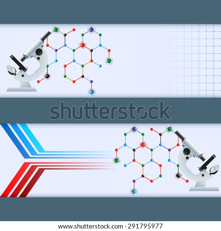 Abstract graphic, design web banner; Header layout template; Set of banners with microscope on hexagonal chemical structure and space for text. - stock photo