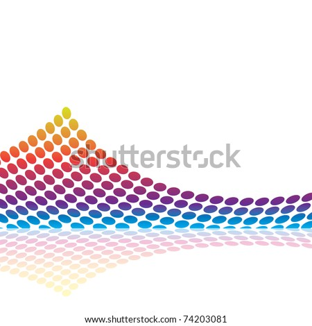 Abstract graphic equalizer or audio waveform illustration made up of colorful circles. - stock photo