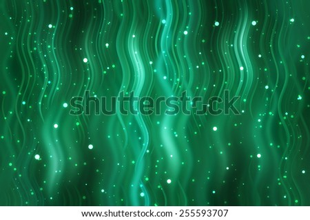 Abstract green background with fractal waves and glitter - stock photo