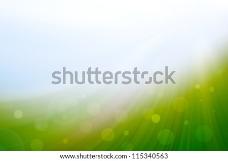 abstract green background with lens flare - stock photo