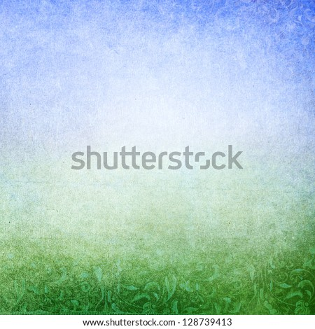 Abstract green blue background with subtle floral print. Faded central area for copy space. - stock photo