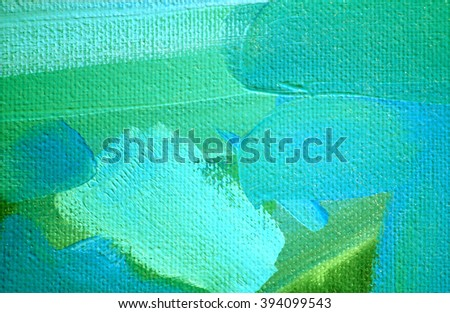 abstract green blue painting by oil on canvas,  illustration - stock photo
