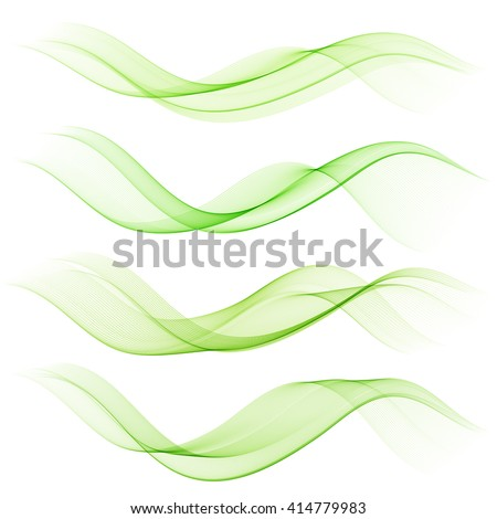 Abstract green color wave design element. Set Green wave - stock photo