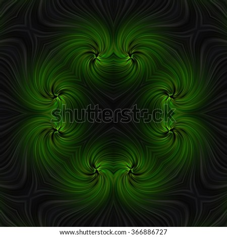 Abstract green fractal twirl with smooth satin waves - stock photo