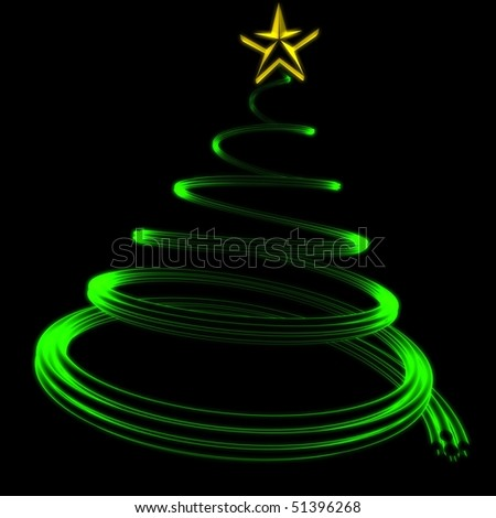 abstract green glowing Christmas tree - stock photo