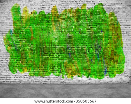 Abstract green graffiti over white brick wall - stock photo