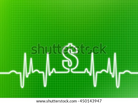 Abstract green graphic of ekg/cardiogram with dollar sign indicating financial cost of healthcare, insurance, surgery and other medical expenses.  - stock photo