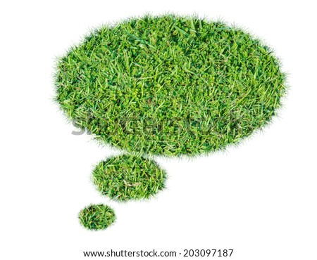 Abstract green grass bubble talk isolate on over white background - stock photo