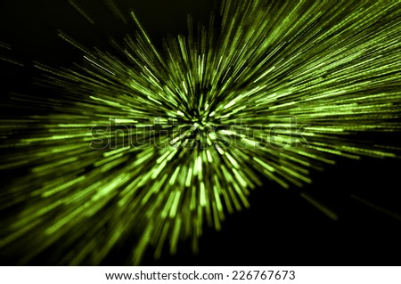 Abstract green light motion trail background - stock photo