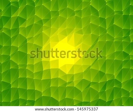 abstract green lowpoly background - stock photo
