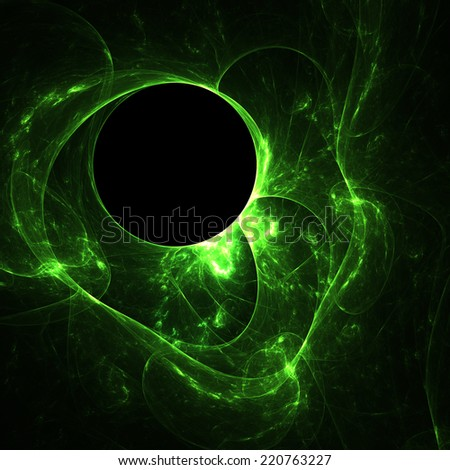 Abstract green neon shapes on black background - stock photo