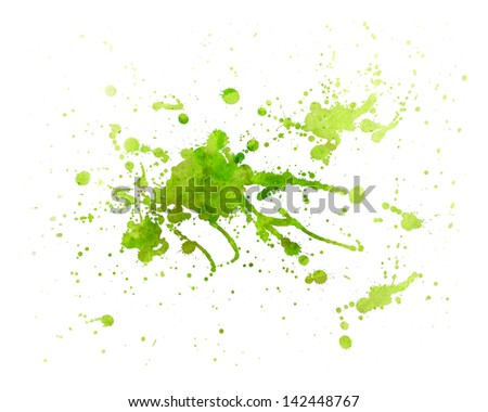 abstract green Painting splash of water color with texture - stock photo