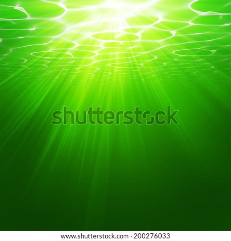 Abstract green underwater background illustration - stock photo