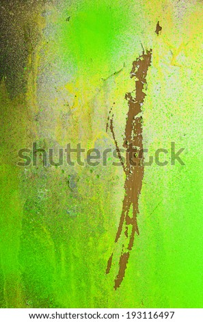 Abstract green yellow background surface of splashed color - stock photo
