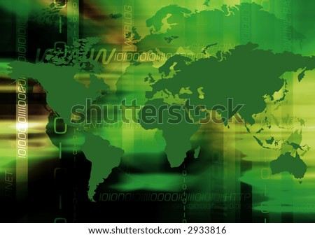 Abstract & greenish colored background with worldmap and internet terms. - stock photo