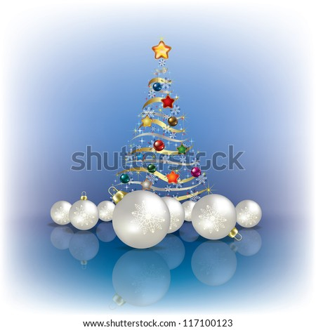 Abstract greeting with Christmas tree and decorations on blue - stock photo
