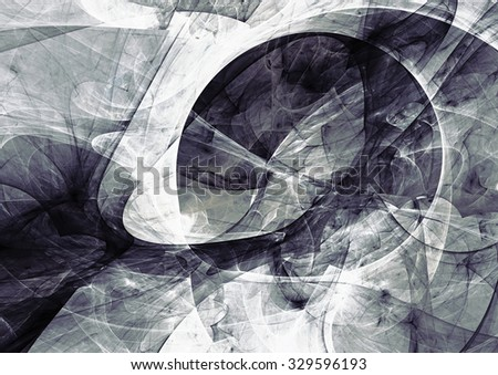 Abstract grey and white motion composition. Modern bright futuristic dynamic background for wallpaper, interior, flyer cover, poster, banner, booklet. Fractal art for creative graphic design - stock photo