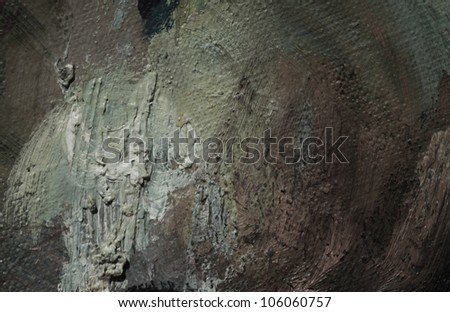 abstract grey background, painting by oil on a canvas - stock photo