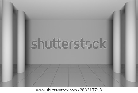 Abstract grey interior in room with blank walls - stock photo