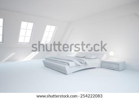 abstract grey interior of bedroom-3D rendering - stock photo