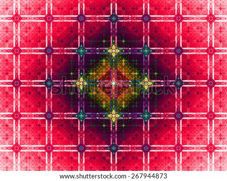 Abstract grid background with a detailed large square pattern made out of small squares and connected with rings and fit into columns and rows, all in dark vivid glowing pink,yellow,red,blue - stock photo