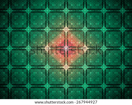 Abstract grid background with a detailed large square pattern made out of small squares and connected with rings and fit into columns and rows, all in shining cyan,red,pink - stock photo