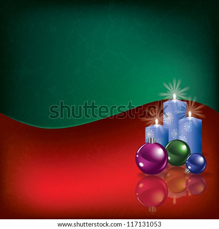 Abstract grunge background with Christmas decorations and candles - stock photo