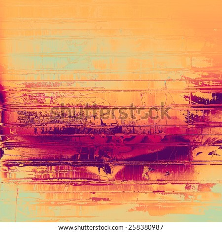 Abstract grunge background with retro design elements and different color patterns: yellow (beige); purple (violet); pink; cyan - stock photo