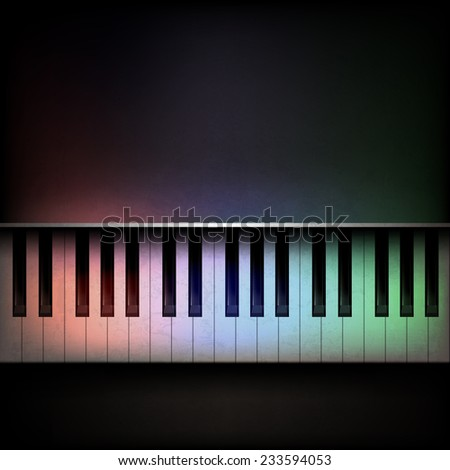 Abstract grunge dark music background with piano - stock photo