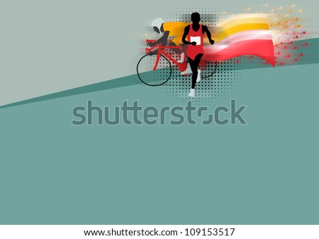 Abstract grunge duathlon sport background with space - stock photo