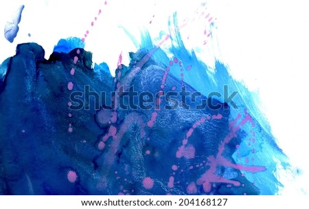 Abstract grunge gouache paint texture of blue color as background. - stock photo