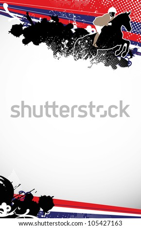 Abstract grunge jumping horse sport background with space - stock photo