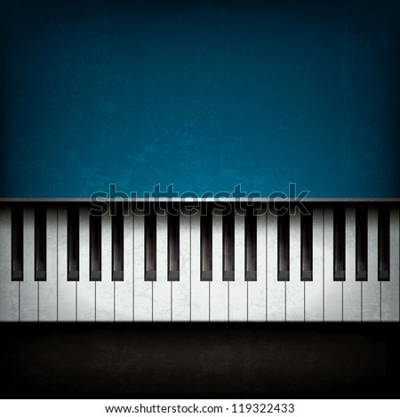Abstract grunge music background with blue piano - stock photo