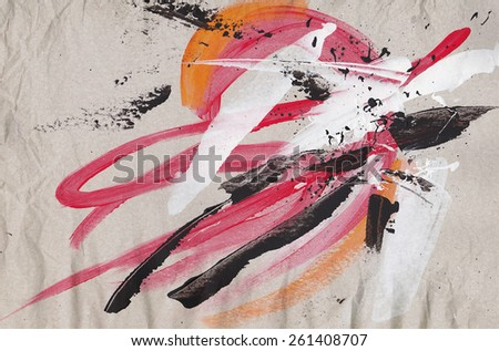 Abstract grunge painted background with expressive brush strokes - stock photo