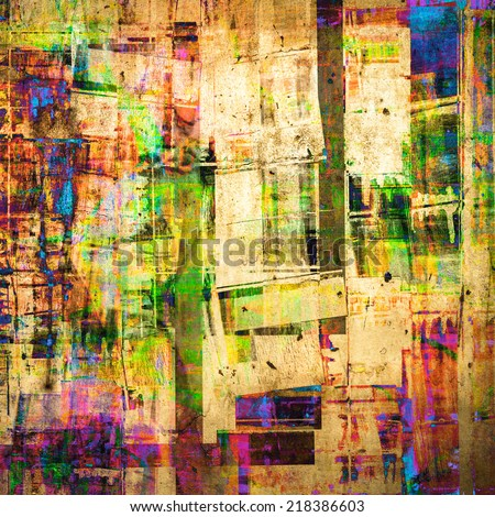 Abstract grunge painting as cubism art style - stock photo