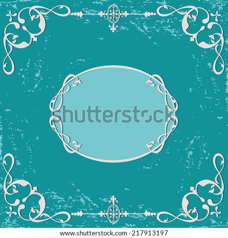 Abstract grunge rough background. Calligraphic swirling decorative frame - stock photo