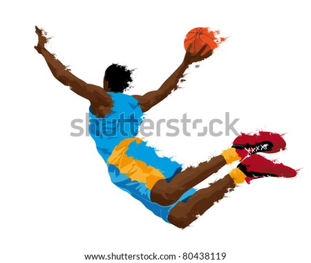 abstract grunge silhouette of a basketball player - stock photo